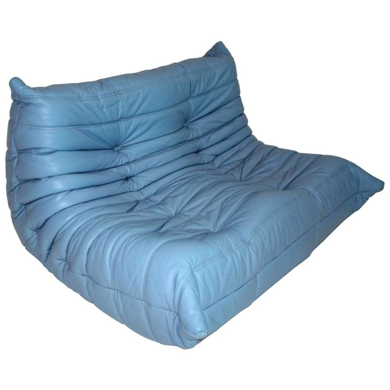 Blue Leather Loveseat by Michel Ducaroy Model Togo, 1970s