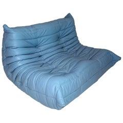 Modernist Blue Vintage Leather Sofa Togo Ligne Roset Michel Ducaroy 1970s France