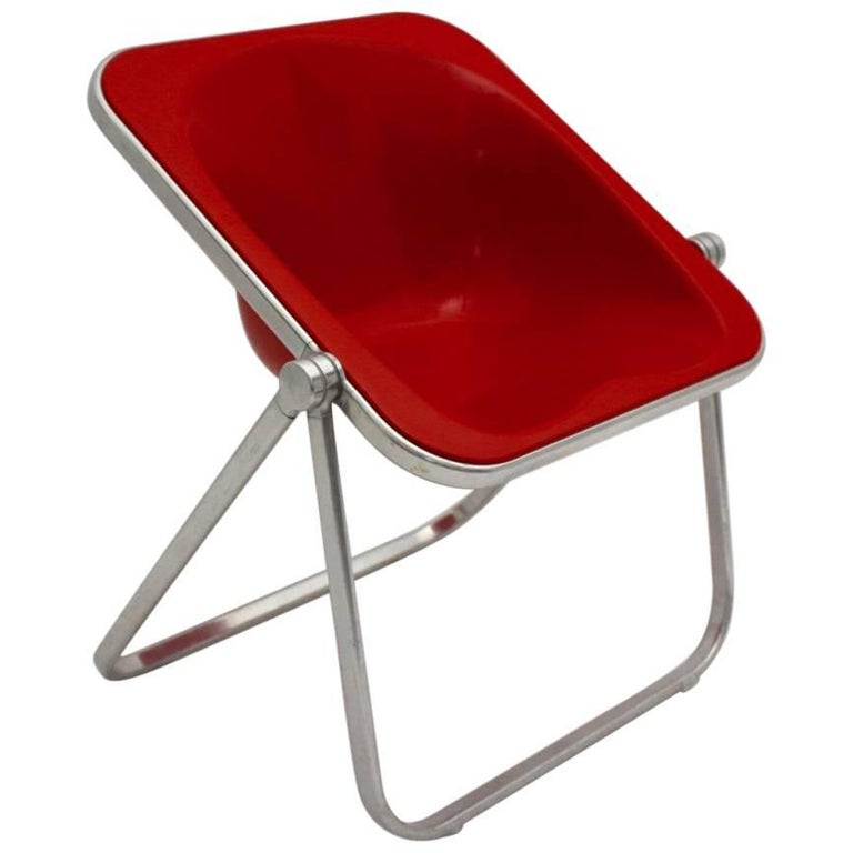 Giancarlo Piretti Space Age Red Plastic Vintage Armchair Plona 1969, Italy For Sale