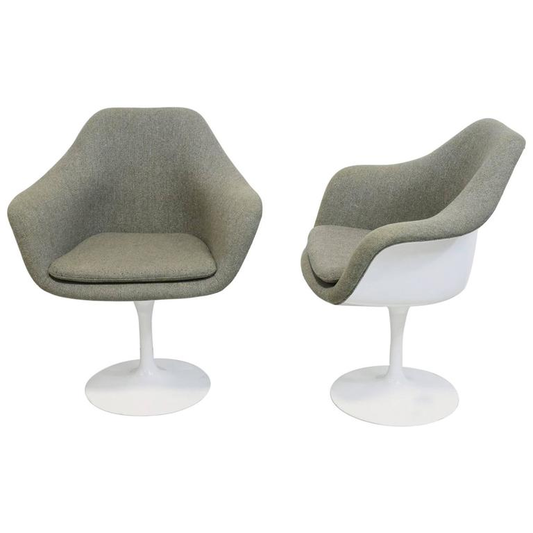 Pair Of Vintage Knoll Eero Saarinen Fully Upholstered