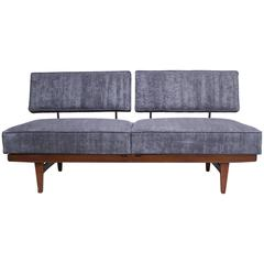 Danish Modern Convertible Daybed/Sofa on Chrome and Walnut Base