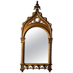 Carved Giltwood Gothic Revival Pier Mirror, mid 19th Century