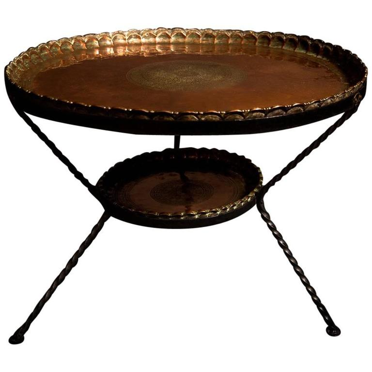 Engraved north african two tier round copper table 19th century for sale at 1stdibs African coffee tables