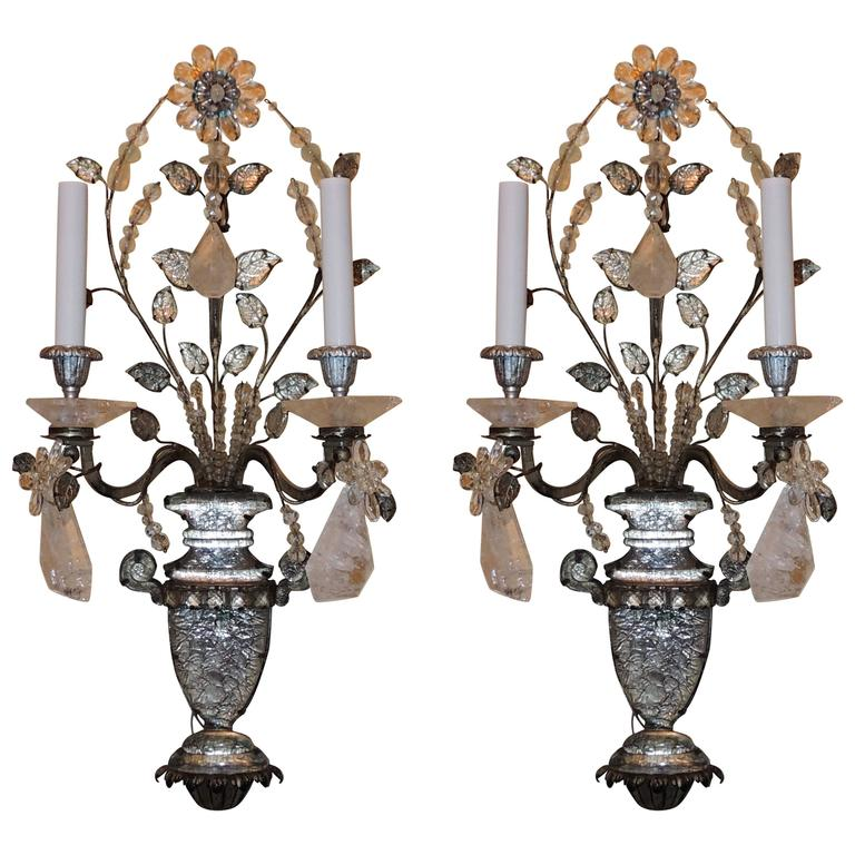 Wonderful Pair French Rock Crystal Silvered Bronze Two-Arm Jansen Sconces 1