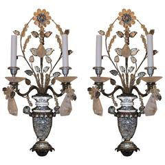 Wonderful Pair French Rock Crystal Silvered Bronze Two-Arm Jansen Sconces