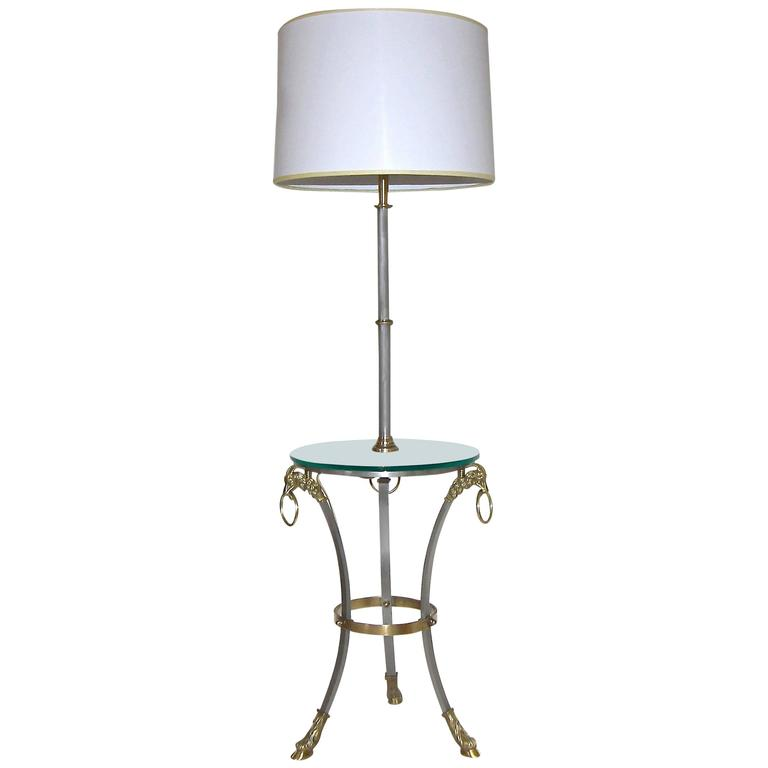 French Masion Jansen Style Brushed Steel and Brass Lamp Side Table