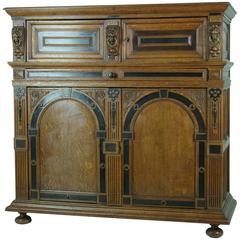 Large Early 19thcentury French Carved Oak Hall Cabinet, Cupboard, Sideboard