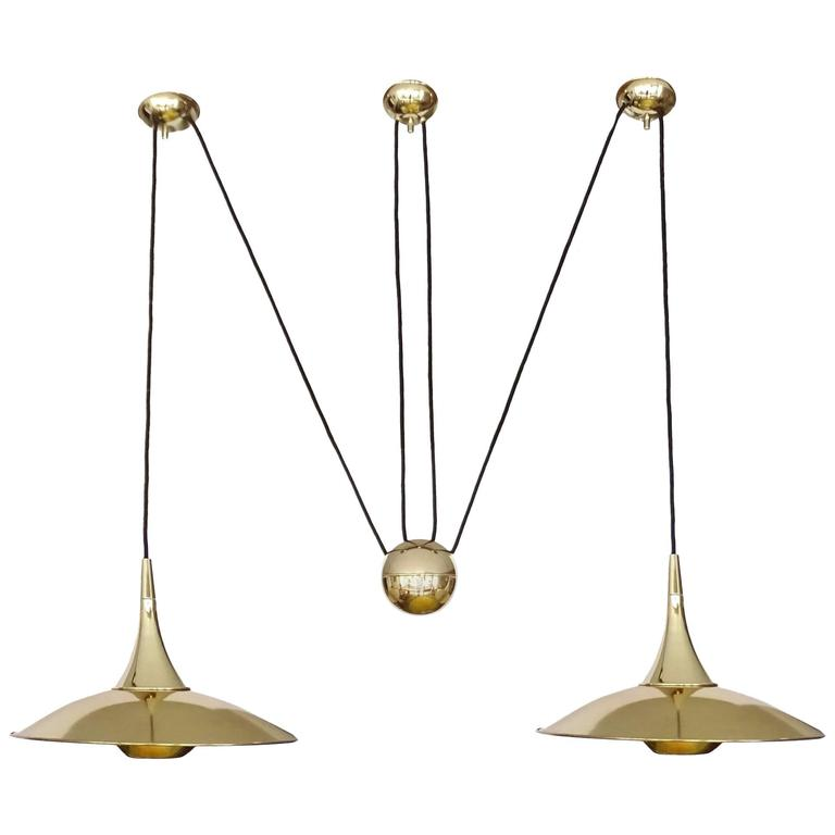 very large pair brass counterweight chandelier pendant lamp schultz era for sale