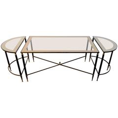 Three Piece Hollywood Regency Bronze Cocktail Table Set By Maison Jansen