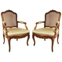 Pair of Walnut Louis XV Style Armchairs, Early 19th Century