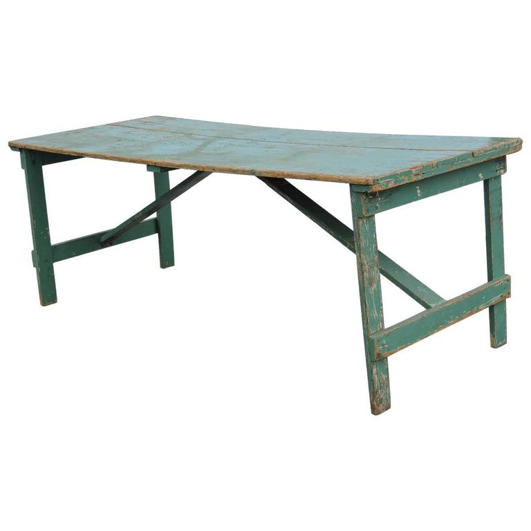 Collapsible Leg Farm Dining Table In Old Green Paint For
