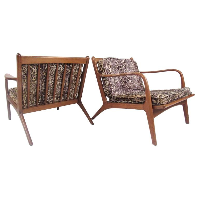 Pair of Mid-Century Modern Walnut Lounge Chairs in the Manner of Folke Ohlsson