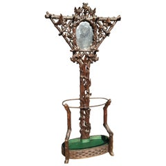 Rare 19th Century Black Forest Carved Tree Shaped Coat Rack, Umbrella Hall Stand
