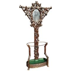 19th Century Black Forest Carved Tree Shaped Coat Rack, Umbrella Hall Stand