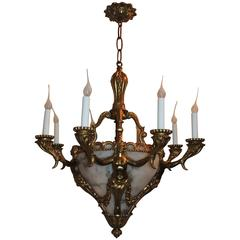 French Bronze Alabaster Figural Nine-Light Neoclassical Empire Chandelier