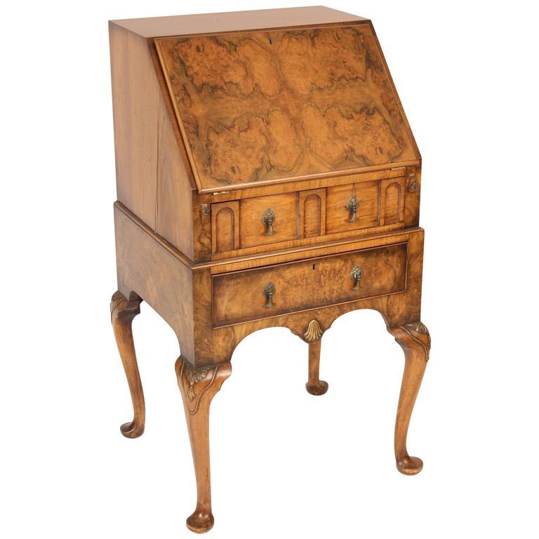 George i style burl walnut slant top desk for sale at stdibs
