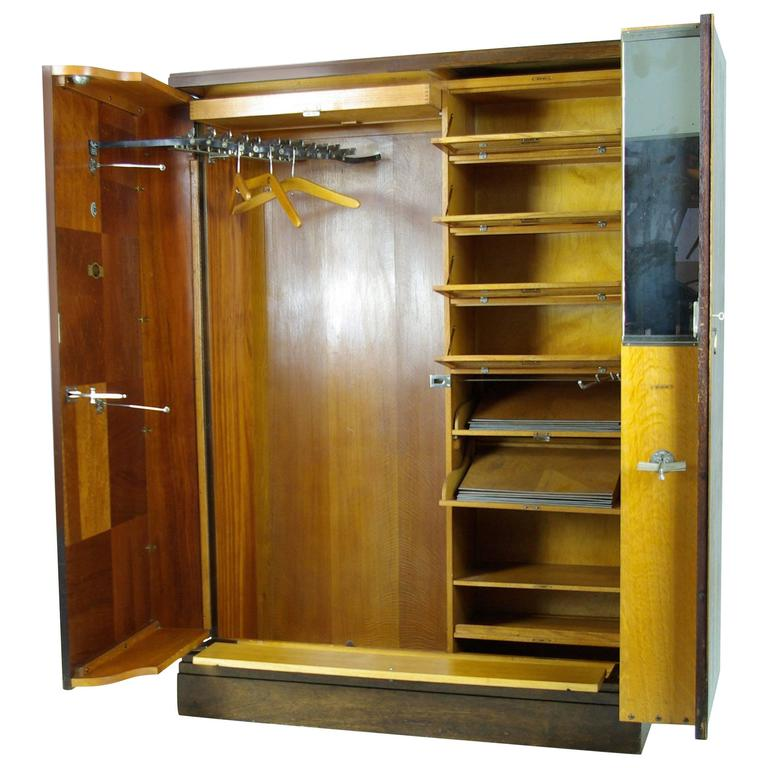 Art Deco Mahogany Compactom Armoire Wardrobe, Fitted Closet For Sale