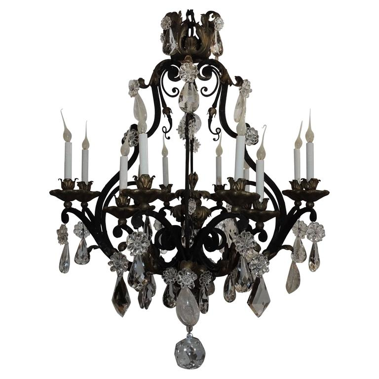 Large French Wrought Iron Gilt Bagues Rock Crystal Twelve-Light Chandelier