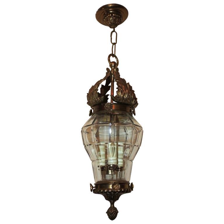Wonderful French Bronze Filigree Beveled Panel Glass Lantern Chandelier Fixture