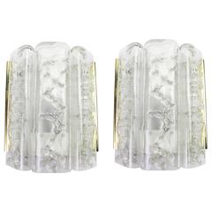 Pair of Brass/Ice Glass Wall Sconces by Doria, Germany, 1970s