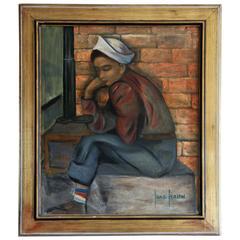 Resting Boy Painting