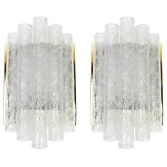 Pair of brass or Ice glass Wall Sconces by Doria, Germany ,1960s