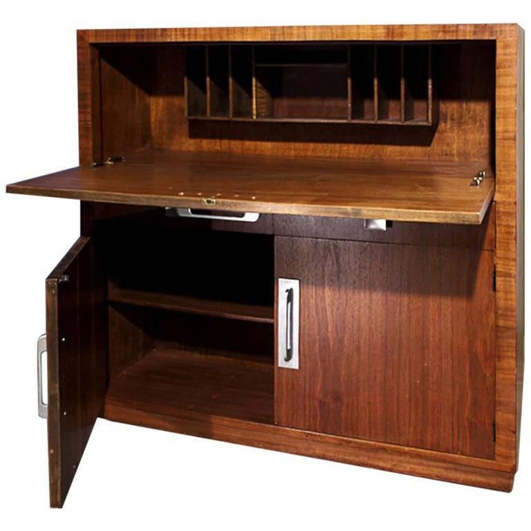 Modern Age Art Deco Drop Down Desk Or Secretary Circa