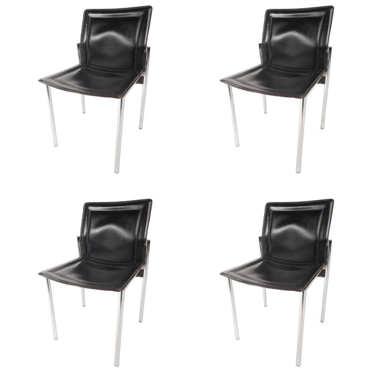 Set of mid century modern leather dining chairs for sale for Mid century modern leather chairs
