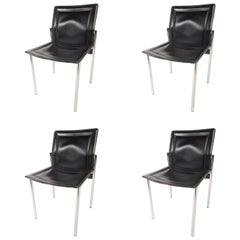 Set of Mid-Century Modern Leather Dining Chairs