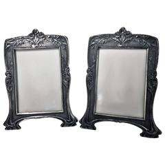 Rare Christofle Art Nouveau Pair of Photograph Frames, circa 1900