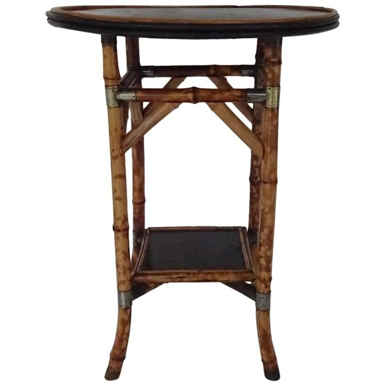 Bamboo Lacquer and Japan Bamboo Side Table For Sale