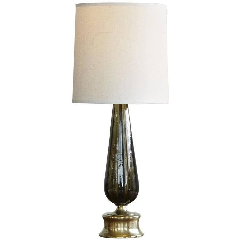 large blown glass table lamp on brass base for sale at 1stdibs. Black Bedroom Furniture Sets. Home Design Ideas