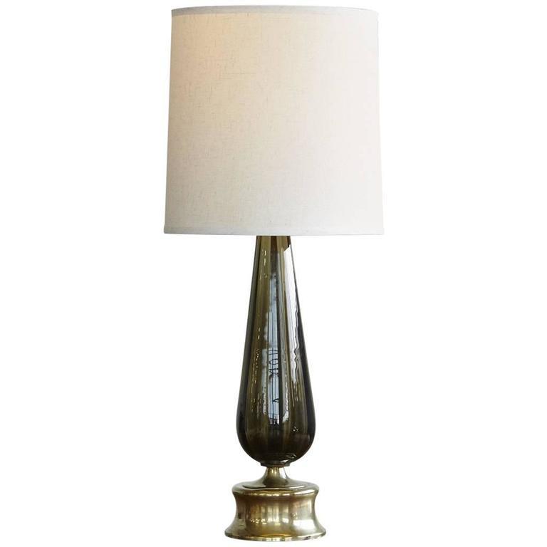 Teardrop Like Hand Blown Glass Table Lamp on Brass Base 1