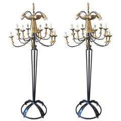 Pair of Italian Mid-Century Candelabra Style Wrought Iron & Brass Floor Lamps