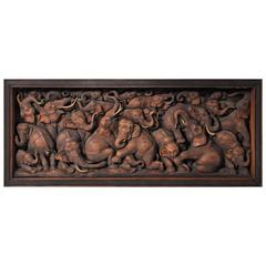 Hand-Carved Herd of Elephants