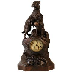 Large Black Forest Hand-Carved Mantel Clock with Saint Bernard Dogs