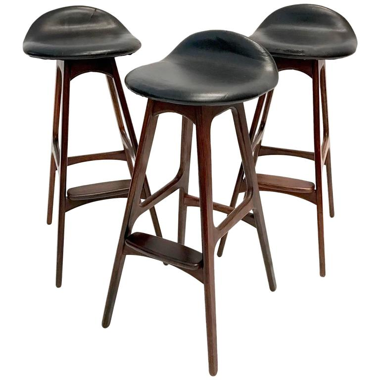 Set Of Three Vintage Danish Barstools By Erik Buch In