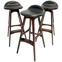 Set of Three Vintage Danish Barstools by Erik Buch in Rosewood and Black Leather
