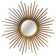 French Mid-Century Sunburst Chaty Vallauris Mirror