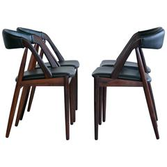 Set of Four Dining Chairs in Rosewood Model 31 by Kai Kristiansen