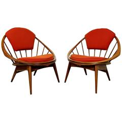 Pair of Signed Hoop Chairs by Ib Kofod-Larsen
