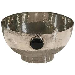 Moderne Sterling Bowl with Inset Onyx Roundels