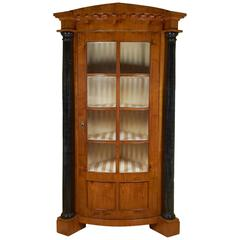 Biedermeier Satin Birch or Fruitwood Corner Cabinet with Ebonized Columns