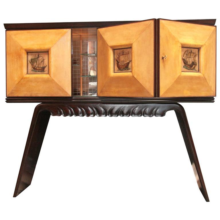 Italian 1950s Bar Cabinet Attributed to Paolo Buffa in Mahogany and Birch