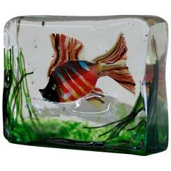 Handblown Murano Sculpture of Fish in Colored Glass
