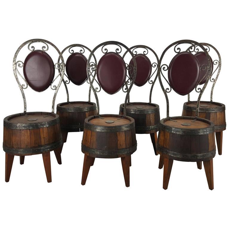Unusual Set of Six Whiskey Barrel and Hammered Iron Pub