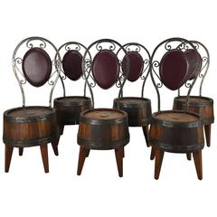 Unusual Set of Six Whiskey Barrel and Hammered Iron Pub Chairs