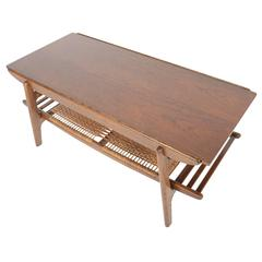 Large Teak and Oak Surfboard Coffee Table with Rack