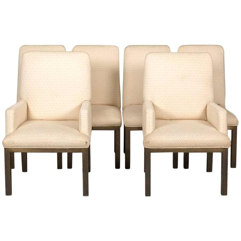 Set of Six Mastercraft Bronze Base Dining Chairs For Sale
