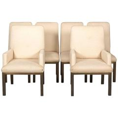 Set of Six Mastercraft Bronze Base Dining Chairs